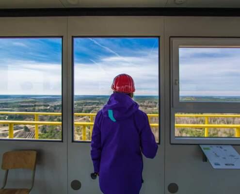 Blick vom höchsten Punkt der Abraumbrücke F60 Richtung Finsterwalde